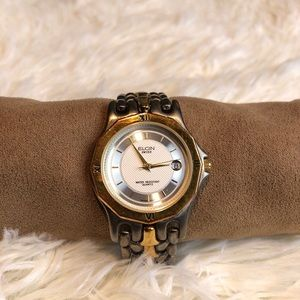Women's Two Tone Silver Gold Elgin Watch With Date